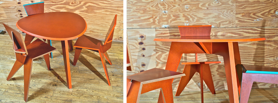 REDUX smooth serie ovale orange table and 3 legs chairs