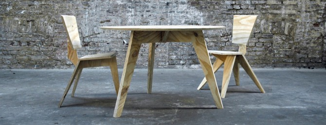 Redux Rough Chairs & Table